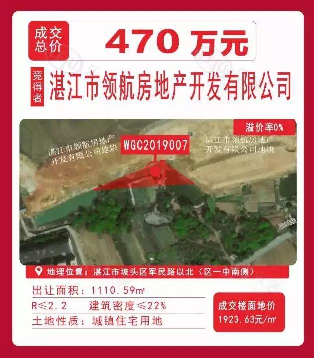 坡头区绿地集团花1.7亿扩容60亩!|8月湛江土拍市场很火爆